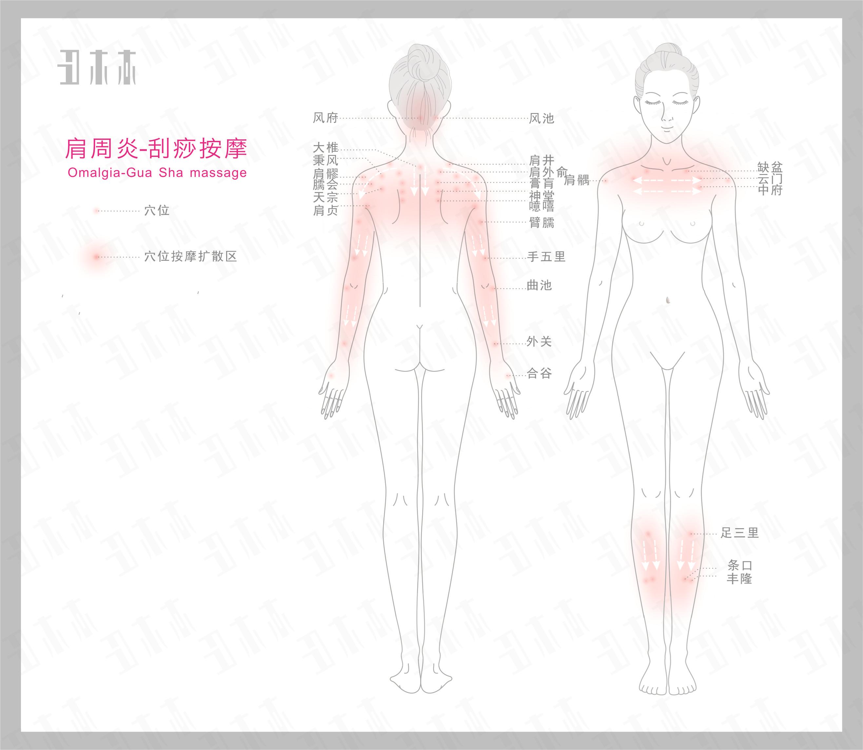肩周炎,刮痧按摩部位示意图解及方法